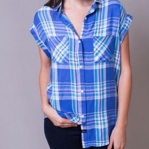 Rails Britt flannel sleeveless button plaid shirt